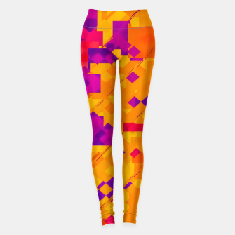 Miniatur geometric square pixel pattern abstract background in orange purple blue Leggings, Live Heroes