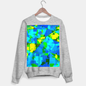 Thumbnail image of geometric triangle pattern abstract in blue yellow green Sweater regular, Live Heroes