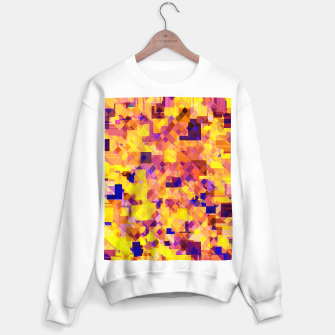 Thumbnail image of geometric square pixel pattern abstract in yellow blue brown Sweater regular, Live Heroes