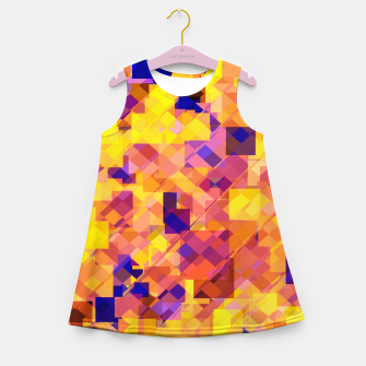 Thumbnail image of geometric square pixel pattern abstract in yellow blue brown Girl's summer dress, Live Heroes