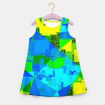 Thumbnail image of geometric triangle pattern abstract in blue yellow green Girl's summer dress, Live Heroes