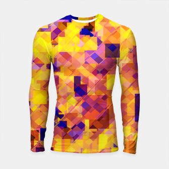Miniatur geometric square pixel pattern abstract in yellow blue brown Longsleeve rashguard , Live Heroes