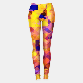 Miniatur geometric square pixel pattern abstract in yellow blue brown Leggings, Live Heroes
