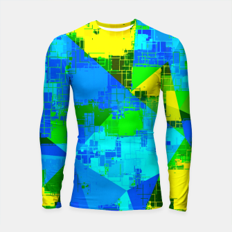 Miniatur geometric triangle pattern abstract in blue yellow green Longsleeve rashguard , Live Heroes
