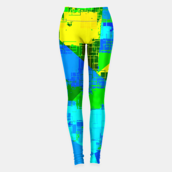 Miniatur geometric triangle pattern abstract in blue yellow green Leggings, Live Heroes
