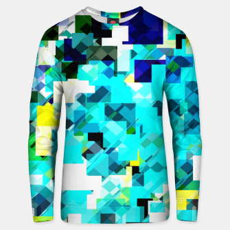 Thumbnail image of geometric square pixel pattern abstract in blue and yellow Unisex sweater, Live Heroes