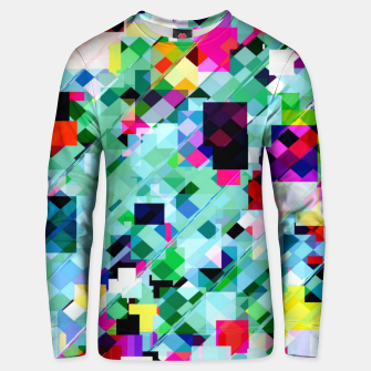 Thumbnail image of geometric square pixel pattern abstract in green pink blue yellow Unisex sweater, Live Heroes