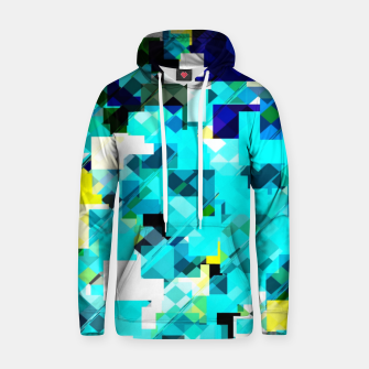 Thumbnail image of geometric square pixel pattern abstract in blue and yellow Hoodie, Live Heroes