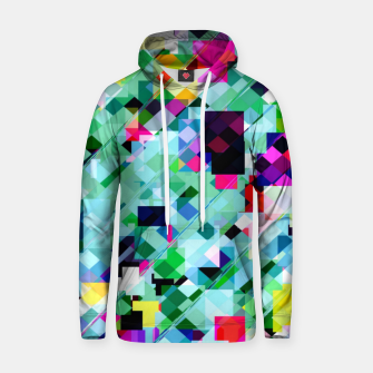 Thumbnail image of geometric square pixel pattern abstract in green pink blue yellow Hoodie, Live Heroes