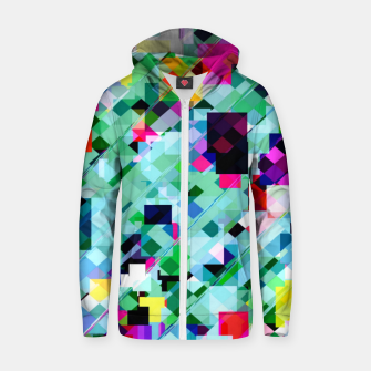 Thumbnail image of geometric square pixel pattern abstract in green pink blue yellow Zip up hoodie, Live Heroes