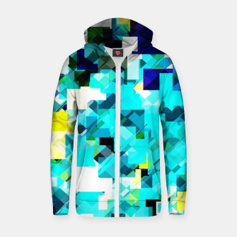 Thumbnail image of geometric square pixel pattern abstract in blue and yellow Zip up hoodie, Live Heroes