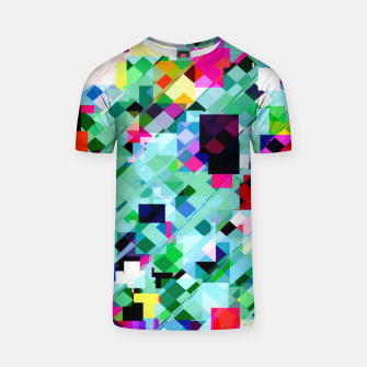 Thumbnail image of geometric square pixel pattern abstract in green pink blue yellow T-shirt, Live Heroes