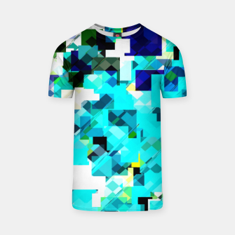 Thumbnail image of geometric square pixel pattern abstract in blue and yellow T-shirt, Live Heroes