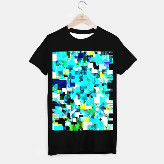 Thumbnail image of geometric square pixel pattern abstract in blue and yellow T-shirt regular, Live Heroes