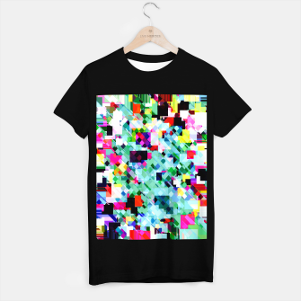 Thumbnail image of geometric square pixel pattern abstract in green pink blue yellow T-shirt regular, Live Heroes