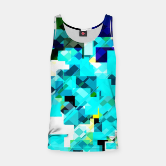 Thumbnail image of geometric square pixel pattern abstract in blue and yellow Tank Top, Live Heroes