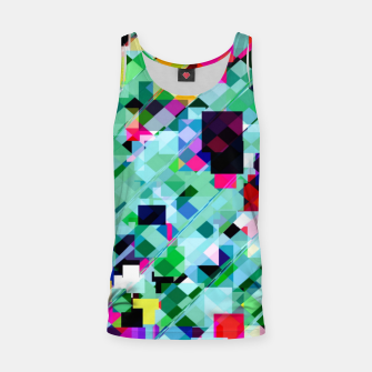 Thumbnail image of geometric square pixel pattern abstract in green pink blue yellow Tank Top, Live Heroes