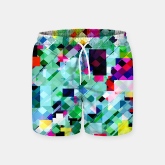 Thumbnail image of geometric square pixel pattern abstract in green pink blue yellow Swim Shorts, Live Heroes