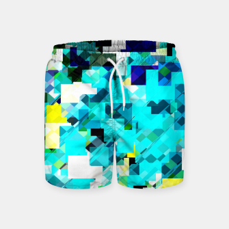 Thumbnail image of geometric square pixel pattern abstract in blue and yellow Swim Shorts, Live Heroes