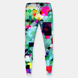 Thumbnail image of geometric square pixel pattern abstract in green pink blue yellow Sweatpants, Live Heroes