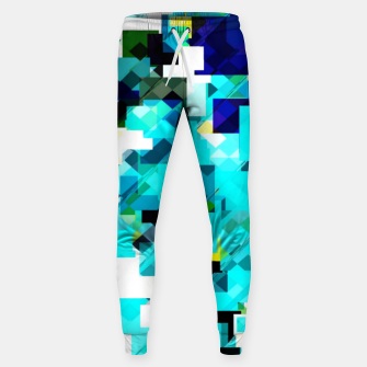 Thumbnail image of geometric square pixel pattern abstract in blue and yellow Sweatpants, Live Heroes