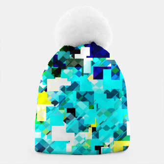 Thumbnail image of geometric square pixel pattern abstract in blue and yellow Beanie, Live Heroes