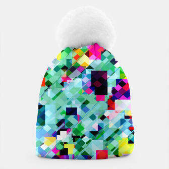 Thumbnail image of geometric square pixel pattern abstract in green pink blue yellow Beanie, Live Heroes