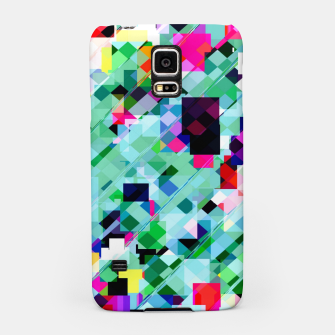 Thumbnail image of geometric square pixel pattern abstract in green pink blue yellow Samsung Case, Live Heroes