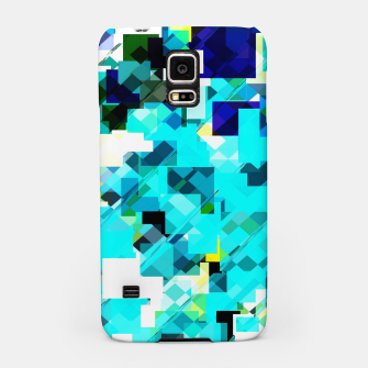 Thumbnail image of geometric square pixel pattern abstract in blue and yellow Samsung Case, Live Heroes