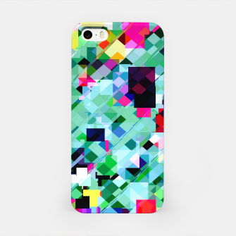 Thumbnail image of geometric square pixel pattern abstract in green pink blue yellow iPhone Case, Live Heroes