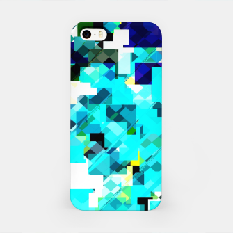 Thumbnail image of geometric square pixel pattern abstract in blue and yellow iPhone Case, Live Heroes