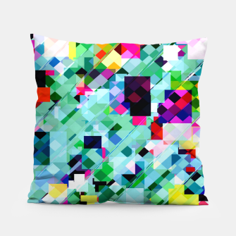 Thumbnail image of geometric square pixel pattern abstract in green pink blue yellow Pillow, Live Heroes