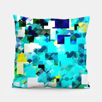 Thumbnail image of geometric square pixel pattern abstract in blue and yellow Pillow, Live Heroes