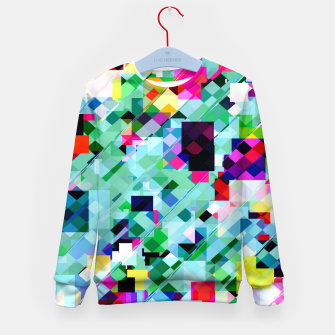 Thumbnail image of geometric square pixel pattern abstract in green pink blue yellow Kid's sweater, Live Heroes