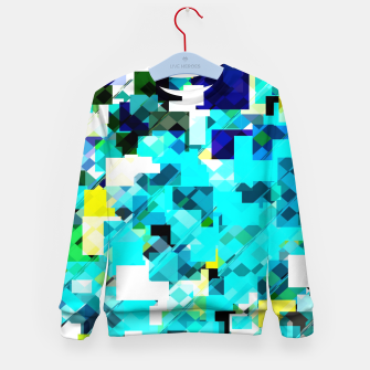 Thumbnail image of geometric square pixel pattern abstract in blue and yellow Kid's sweater, Live Heroes