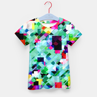 Thumbnail image of geometric square pixel pattern abstract in green pink blue yellow Kid's t-shirt, Live Heroes