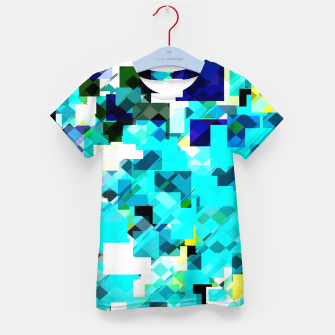 Thumbnail image of geometric square pixel pattern abstract in blue and yellow Kid's t-shirt, Live Heroes