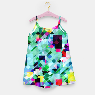 Thumbnail image of geometric square pixel pattern abstract in green pink blue yellow Girl's dress, Live Heroes
