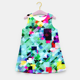 Thumbnail image of geometric square pixel pattern abstract in green pink blue yellow Girl's summer dress, Live Heroes