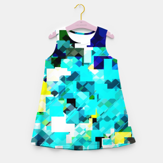 Thumbnail image of geometric square pixel pattern abstract in blue and yellow Girl's summer dress, Live Heroes