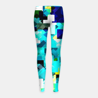 Thumbnail image of geometric square pixel pattern abstract in blue and yellow Girl's leggings, Live Heroes