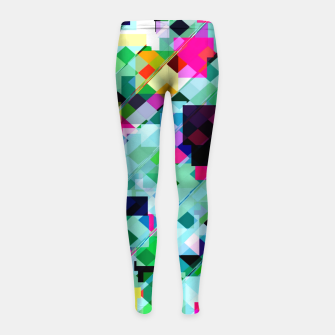Thumbnail image of geometric square pixel pattern abstract in green pink blue yellow Girl's leggings, Live Heroes