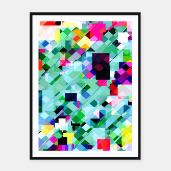 Thumbnail image of geometric square pixel pattern abstract in green pink blue yellow Framed poster, Live Heroes