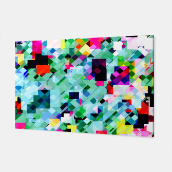 Thumbnail image of geometric square pixel pattern abstract in green pink blue yellow Canvas, Live Heroes