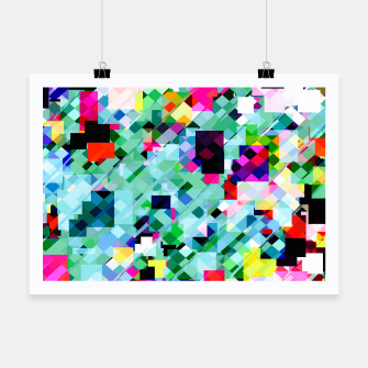 Thumbnail image of geometric square pixel pattern abstract in green pink blue yellow Poster, Live Heroes