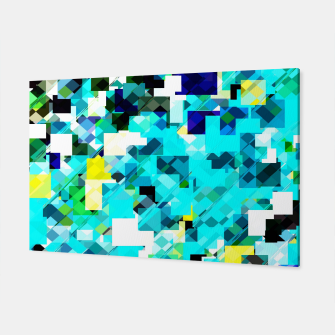 Thumbnail image of geometric square pixel pattern abstract in blue and yellow Canvas, Live Heroes