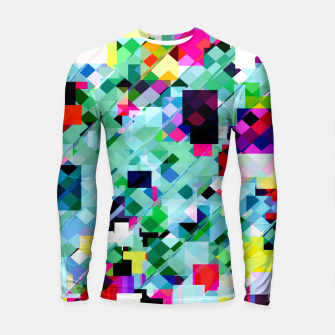 Thumbnail image of geometric square pixel pattern abstract in green pink blue yellow Longsleeve rashguard , Live Heroes