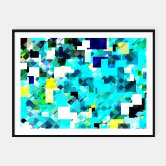 Thumbnail image of geometric square pixel pattern abstract in blue and yellow Framed poster, Live Heroes