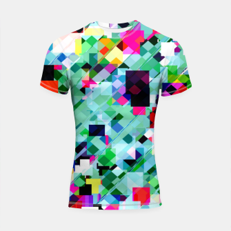 Thumbnail image of geometric square pixel pattern abstract in green pink blue yellow Shortsleeve rashguard, Live Heroes