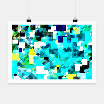Thumbnail image of geometric square pixel pattern abstract in blue and yellow Poster, Live Heroes